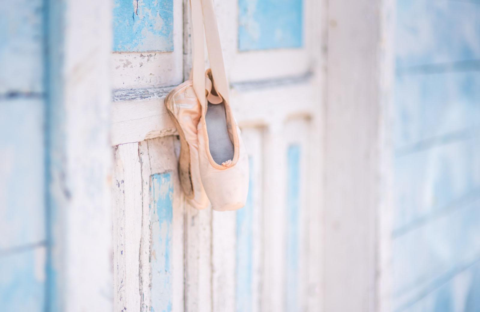 Ballet Slippers on Grunge Wall Texture www.LukeStudios.com